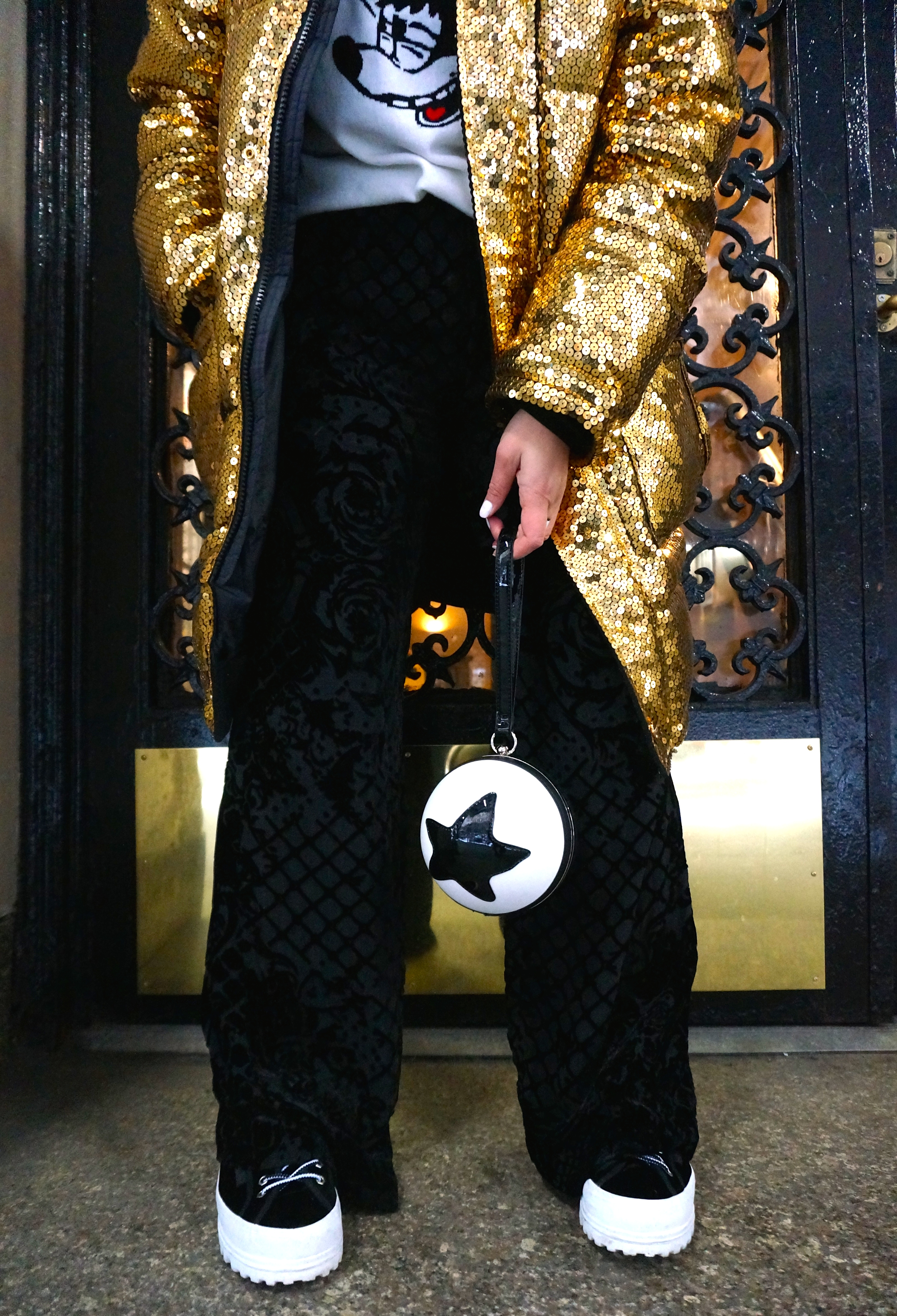 Disney Style NYFW Moschino H&M gold sequin jacket parka Mickey Forever 21 F21 Pixar bag