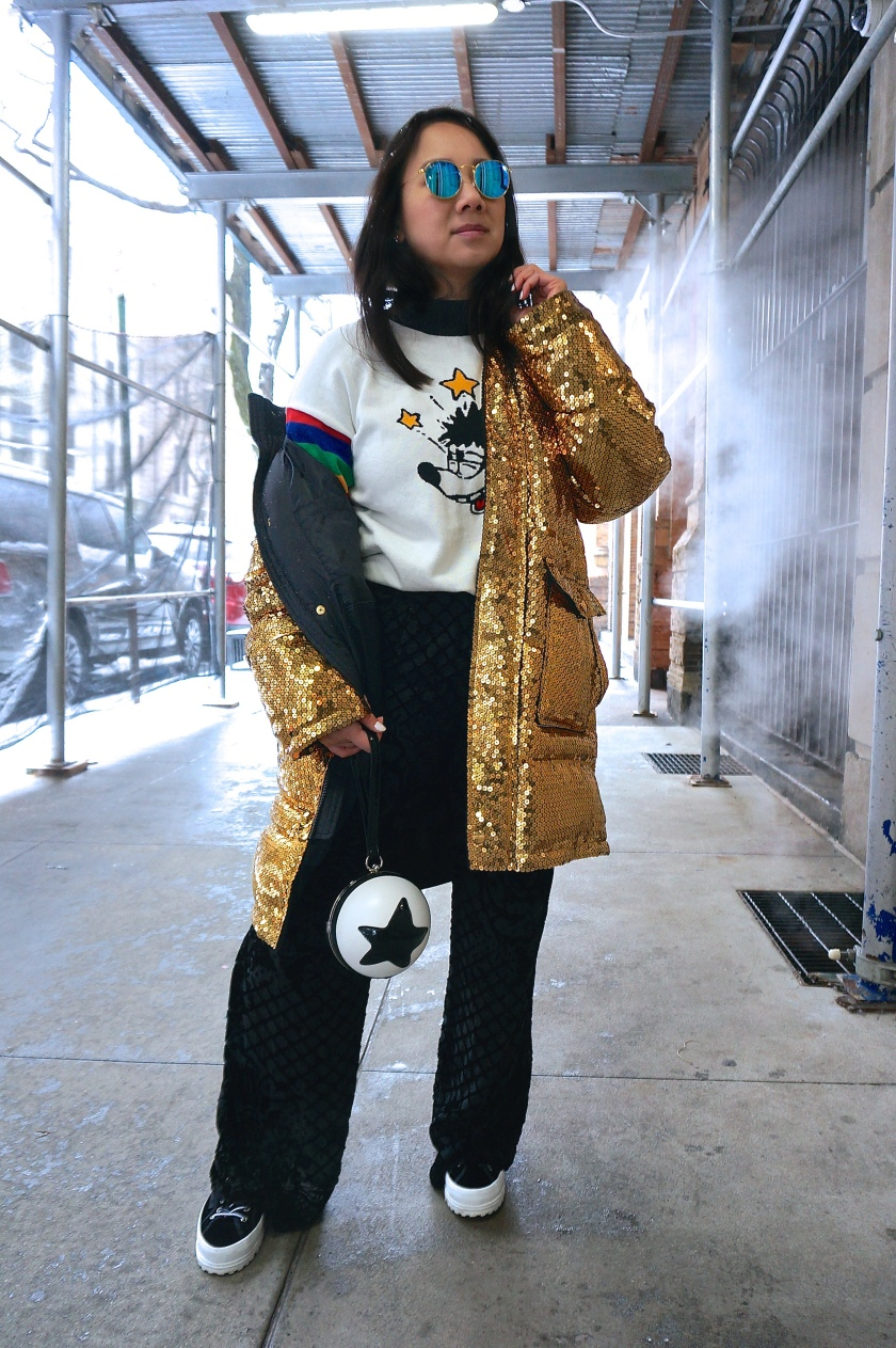 Disney Style New York NYFW H&MxMoschino gold sequin parka Forever 21 Mickey sweater Pixar purse
