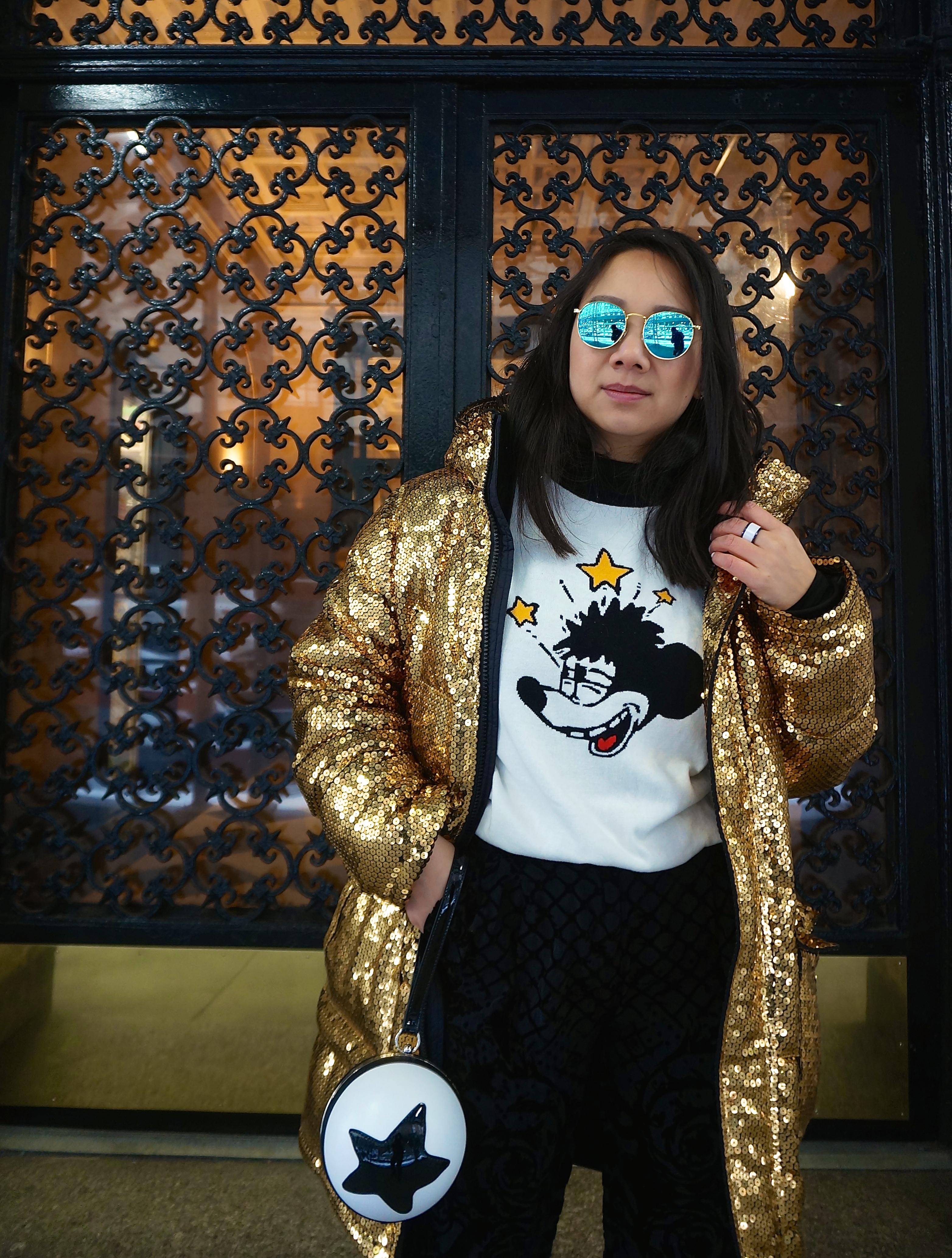 Disney Style New York NYFW H&MxMoschino gold sequin jacket Forever21 Mickey sweater Pixar ball purse
